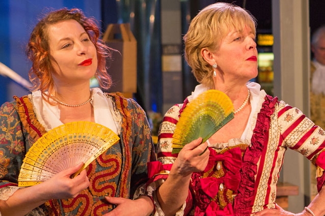 Elinor Bengry as Mrs Squeamish and Elizabeth Howard as Lady Fidget