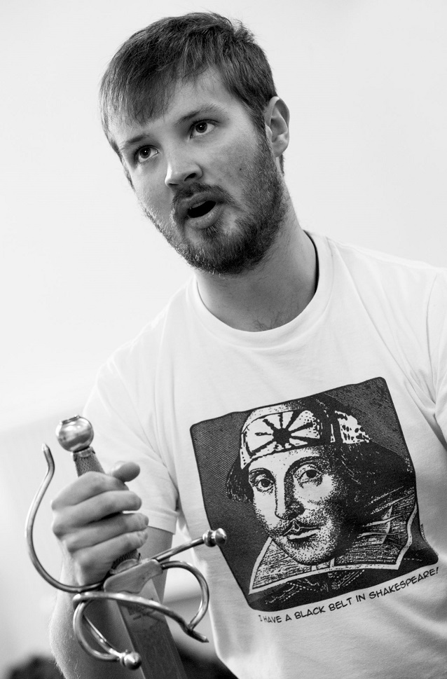 David Scotswood, who plays Henry V, learning his lines